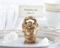 Laughing Buddha Golden Place Card/Photo Holders (Set of 4)