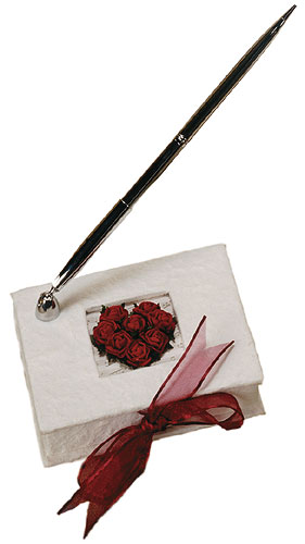 Flower of Love Romantic Red Rose Guest Book Pen