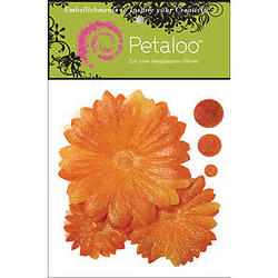 Glittered Orange Daisy Layers Peel-n-Stick Flowers