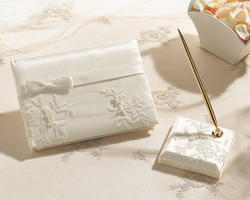 Elegant Lace Ivory Guest Book & Pen Set