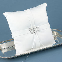 With All My Heart Ring Pillow - White