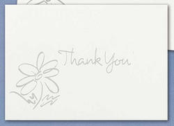 Silver He Loves Me Daisy Thank You Cards - Pkg 50