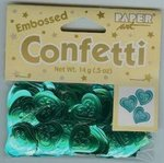 Embossed Teal Heart Confetti