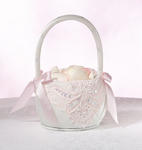 Soft Elegance Pink Sequin Flower Girl Basket