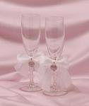 Pave Heart Toasting Glasses - White or Ivory
