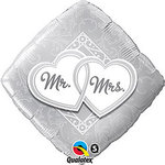 Mr & Mrs Entwined Hearts Mylar Balloon