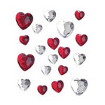 Rhinestone Stick-on Heart Shape Jewels - Pkg 18