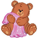 38 Blankie Bear Mylar Balloon - Pink or Blue!