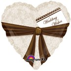 Heart with Brown Ribbon Mylar Balloon