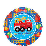 18 Happy Birthday Fire Truck Mylar Balloon