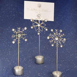 Rhinestone & Wire Snowflake Place Card Holders - Pkg 12
