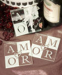 AMOR Glass Coaster Favors - Set of 2