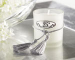"""Silver Memories"" 25th Anniversary Frosted-Glass Votive with Silver-Plate & Silk Tassel (Set of 4)"