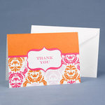 Damask & Crest Orange Thank You - Pkg 50