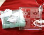 Crystal Snowflake Glass Coasters - Pkg of 4
