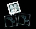 Calla lily Glass Coasters in White/Ivory Box - Pkg 8
