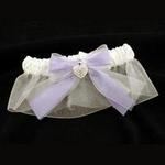 Pave Heart Bridal Garter - Periwinkle