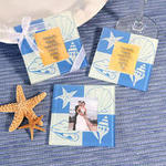 Seashells Beach Glass Photo Coasters - Set of 2