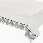 Black & White Damask Plastic Tablecover