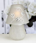Floral Design Frosted & Rhinestone Candle Lamp