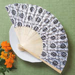 Elegant Silk Fan with Damask Design
