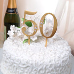 50th Wedding Anniversary Rhinestone Cake Topper in Gold