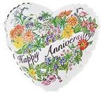 Floral Happy Anniversary Mylar Balloon