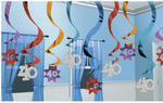 40 Birthday Hanging Swirl Decorations - Pkg 15