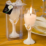 Elegant Calla Lily Accented Champagne Flute Candle Holder Favor