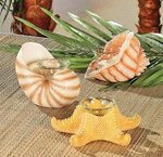 Resin Seashell Votive Holders - Set of 3