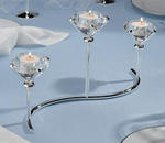3 Diamond Silver Plated Candleholder