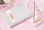 Pink Flower Guest Book with Pen Set