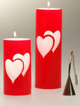 Red Double Heart Unity Candle