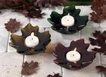 Maple Leaf Glass Candle Tea Light Holder - Set of 3