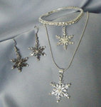 3 Piece Crystal & Silver Snowflake Necklace Set