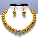 Gold Glass Pearl Tiffany Ball Necklace Set