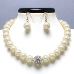 Ivory Glass Pearl Tiffany Ball Necklace Set
