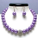 Lavender Glass Pearl Tiffany Ball Necklace Set