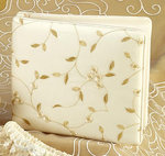Ivory Floral & Leaves Embroidered Organza Guest Book