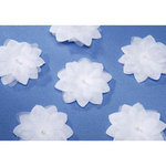 Favor Embellishments - White Adhesive Flowers - Pkg 12