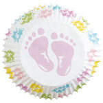 Wilton Standard Baking Cups - Multi Pastel Baby Feet - 75 pieces