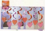 Streamin Swirls Heart Ceiling Decorations - Pkg 15