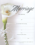 Calla Lily Keepsake Marriage Certificate