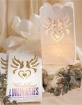 Heart & Dove Design Wedding Luminaries - Pkg 12