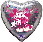 18 Holographic Mickey & Minnie Hug Heart Shape Mylar Balloon