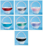 Satin Flower Basket with Bow - 7 Color Choices!
