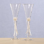 Lacy Daisy Toasting Flutes - White or Ivory