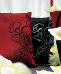 Silhouettes In Bloom Square Ring Pillow - Red or Black